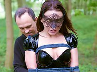 kinky girl wearing a bondage mask submit to her master, screamed spanked and dominated